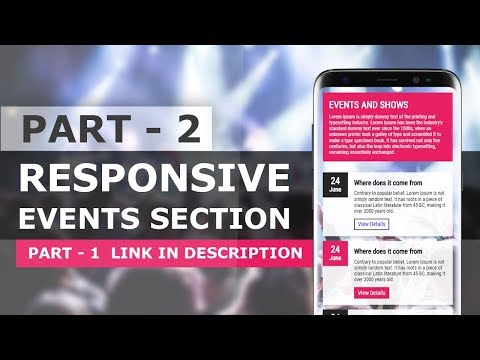 CSS Responsive Events Section UI Design - Responsive Website Section Design Tutorial thumbnail
