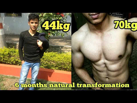 70kg吧_6 Months Natural Body transformation from skinny 44kg to muscular 70kg - YouTube
