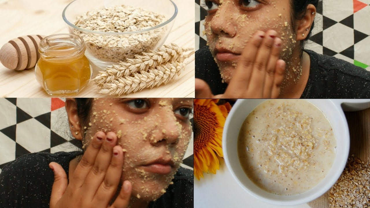 Diy Natural Face Scrub Oatmeal Honey Scrub Oats For Skin Youtube