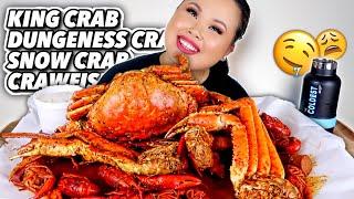 KING CRAB LEGS + DUNGENESS CRAB + SNOW CRAB + CRAWFISH SEAFOOD BOIL MUKBANG 먹방 EATING SHOW!