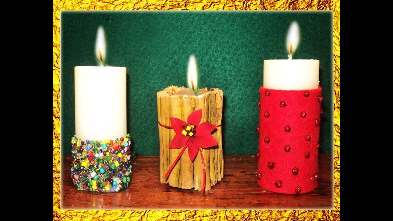 Manualidades 3 ideas para decorar velas en navidad por for Decoracion de velas