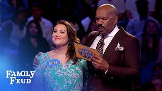Erika needs 40 points for $20,000! Can she do it?   Family Feud