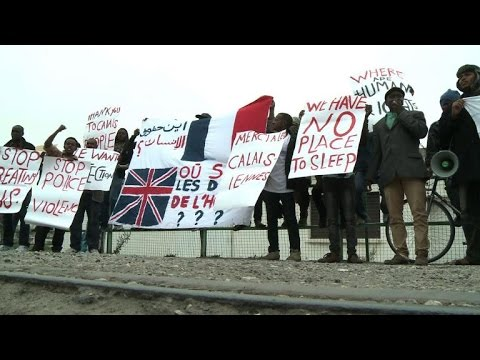 Migrants trying to reach UK protest in French port city