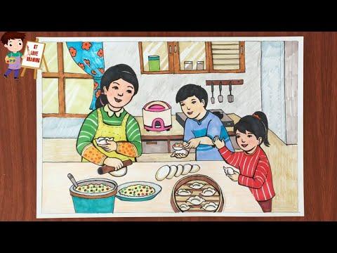 Vẽ Tranh đề tài cuộc sống quanh em - Cùng làm bánh sủi cảo với mẹ | How to draw my Mother