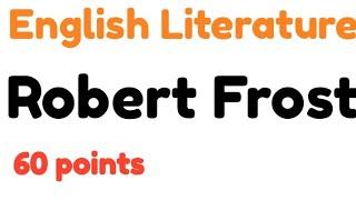 Robert Frost . American Poet in Literature.