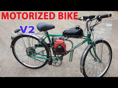 Смотреть Build a Motorized Bike at home - v2 - Using 4-Stroke 49cc Engine - Tutorial онлайн
