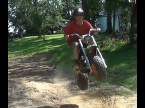 Jumping My Custom Baja Heat Fat Tire Mini Bike With Monoshock
