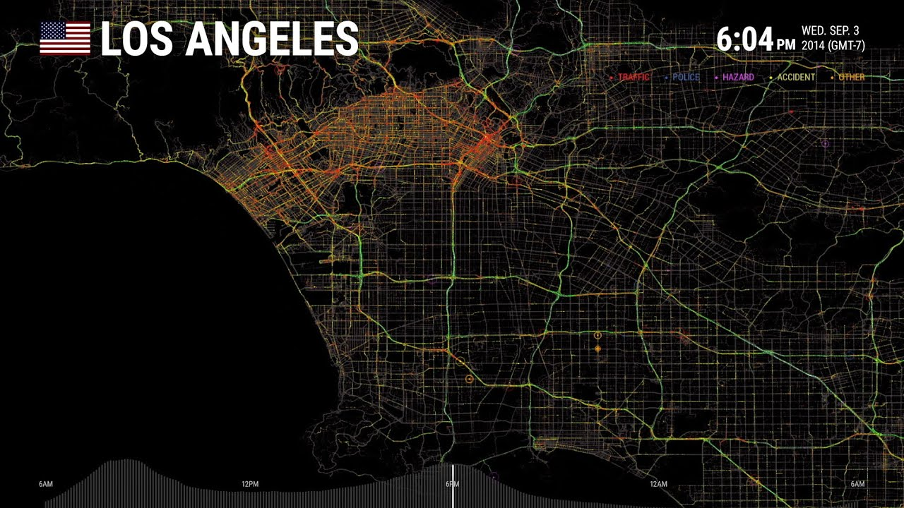Data Visualization Los Angeles One Day On Waze Waze YouTube - Los angeles freeway map traffic