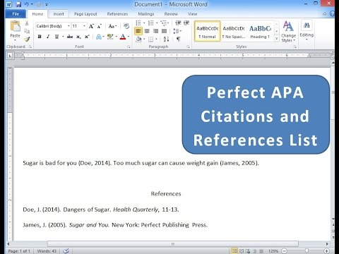 Create APA citations and References List with Microsoft Word - YouTube