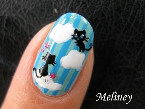 Cute Cat Nails - Kitty Heaven Sticker Nail Art Tutorial - Dream Clouds Easy Design for Beginners