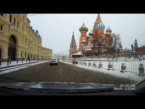 Driving in real time - Moscow City Center and the Kremlin in