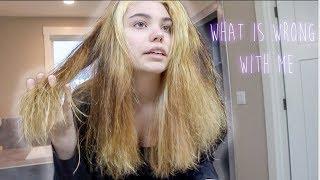 bleaching my hair 3x in one day then dying it blue (disaster obviously)