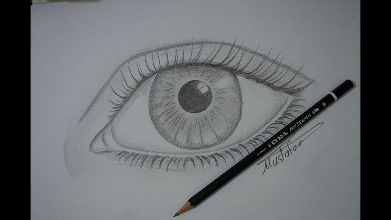 81d070951 تعلم رسم العين بالرصاص للمبتدئين مع الخطوات - YouTube