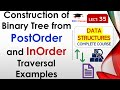 Construction of Binary Tree from PostOrder and InOrder Traversal(Hindi, English) with Example