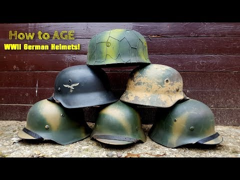 WW2 German Helmet - HOW to AGE! Camouflage and Aging - HOW to add chicken wire on your Helmet!
