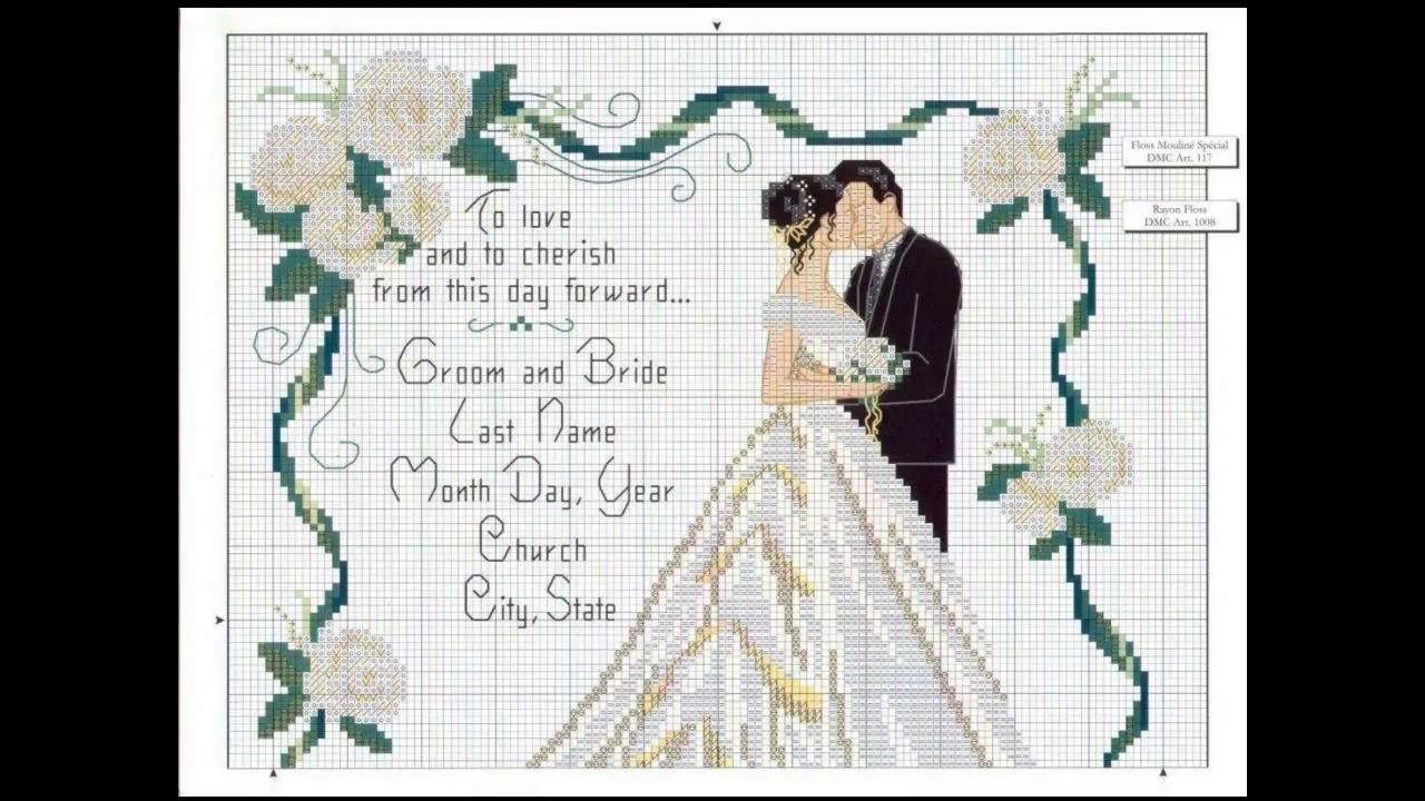Patrones para punto de cruz especial bodas | Aprende a hacer punto ...