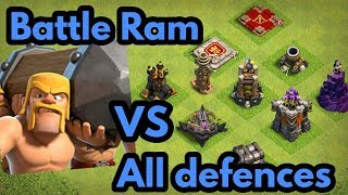 Battle Ram VS All Defences In Clash Of Clans (1 On 1 Gameplay ) 5th Clashiversary