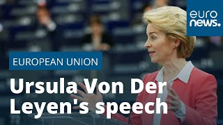 Ursula Von Der Leyen speaks at European Parliament