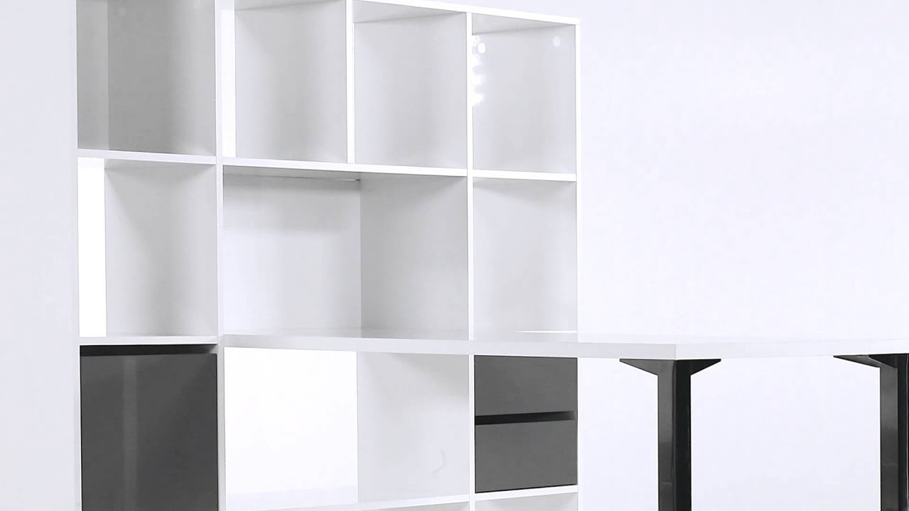 Bureau droit blanc avec biblioth que design minos but for Bibliotheque avec bureau integre