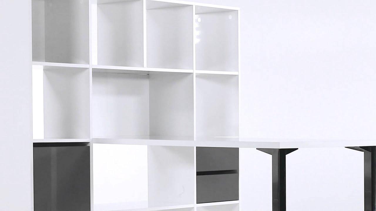 bureau droit blanc avec bibliotheque design minos but