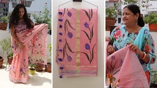 Make Your Own TOM-TOM | Hand Painting Designer Saree Under Rs. 500 {Part-3}