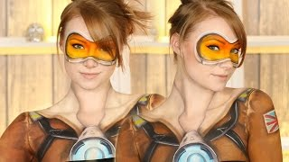 Overwatch: Tracer Makeup Tutorial (Clothes Painted on!) thumbnail