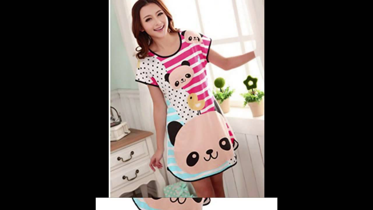 ae77f55216e7 Summer Sexy Women Cartoon Cotton Night Skirt Pajamas Sleeping Dress (Green)  - YouTube