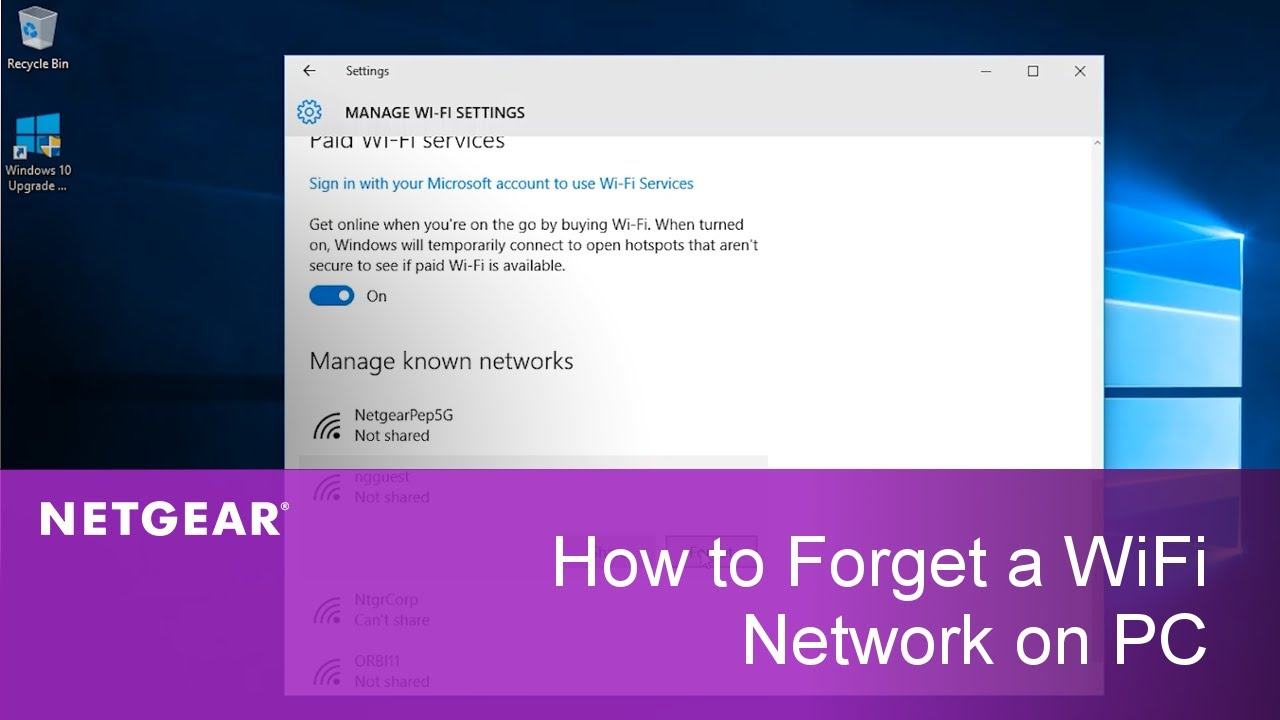 How to delete a wireless network profile in Windows 10