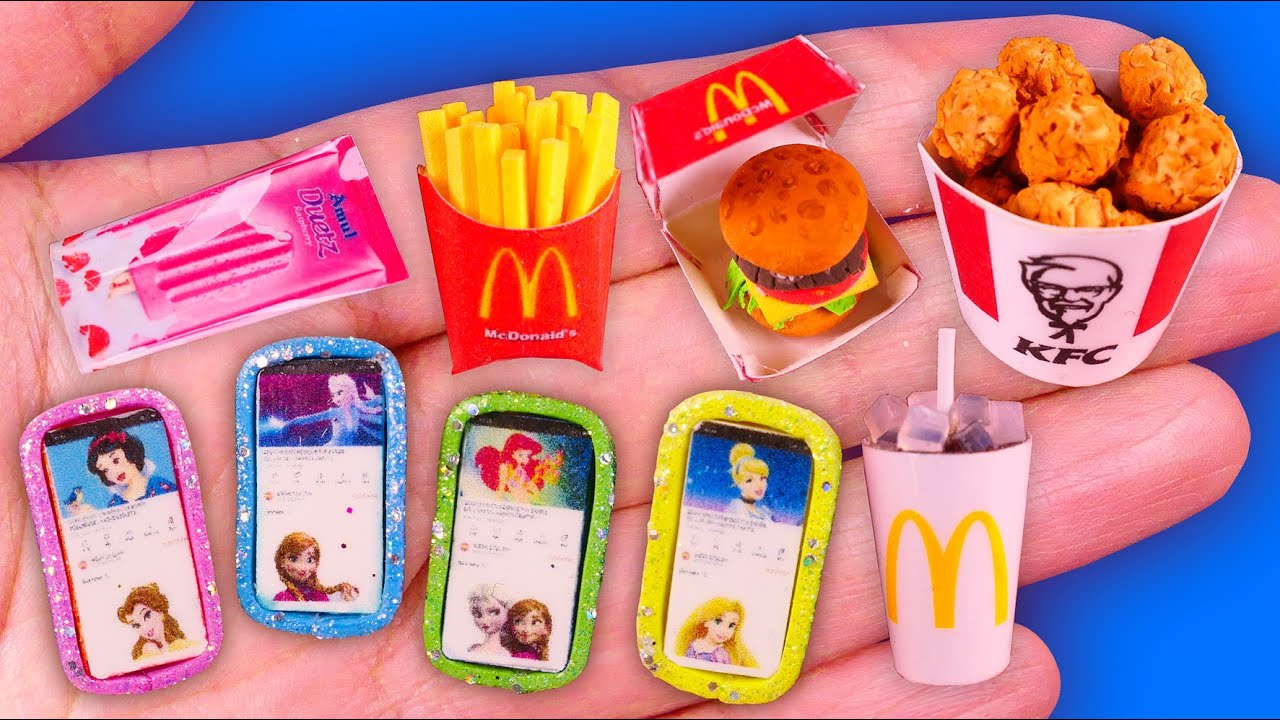 18 DIY Miniature Barbie Hacks for Dollhouse, Iphone and KFC food CRAFTS~