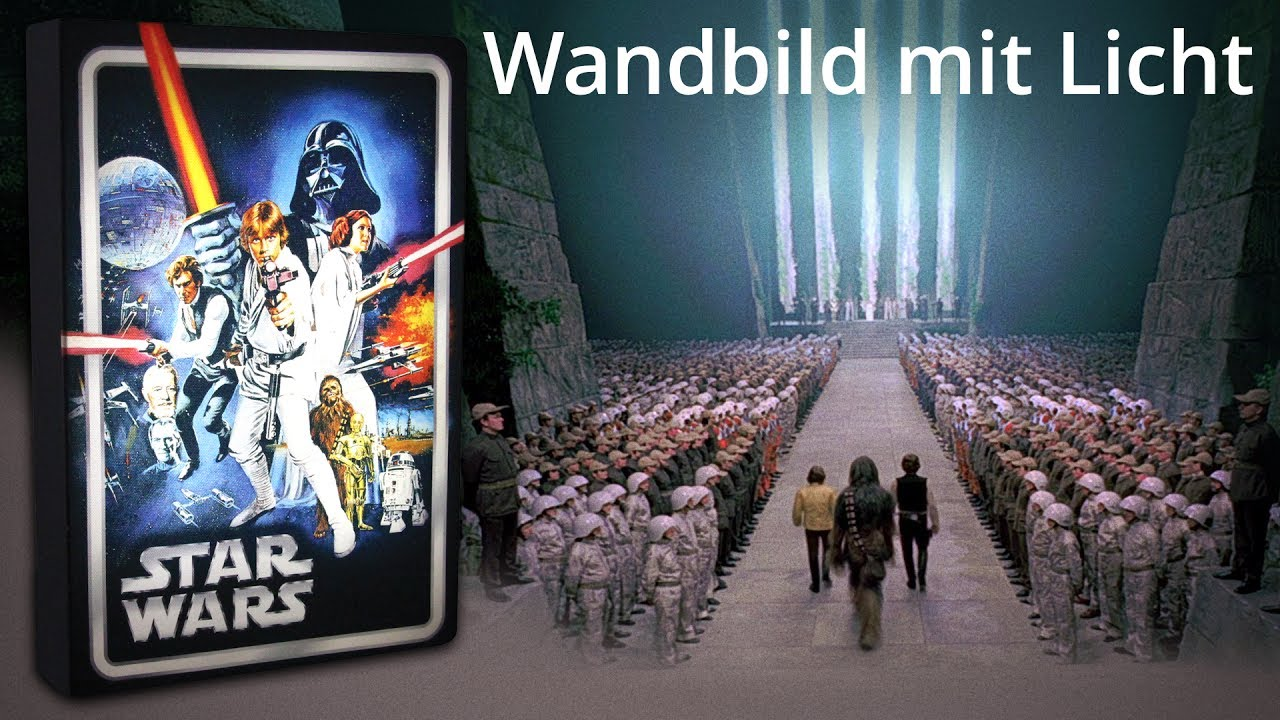 star wars wandbild mit licht youtube. Black Bedroom Furniture Sets. Home Design Ideas