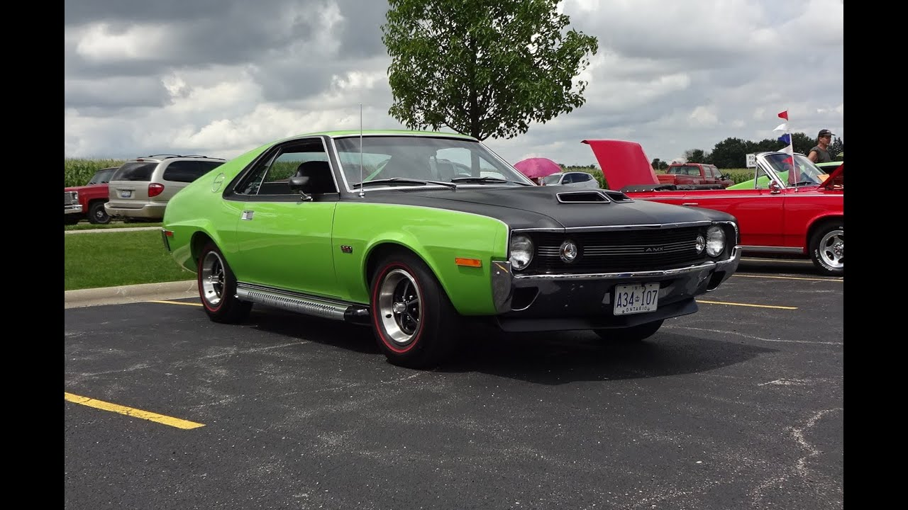 1970 AMC AMX in Big Bad Green Paint & 390 Engine Start on My Car Story with  Lou Costabile