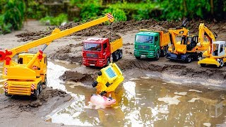 Construction Vehicles Crane, Excavator Rescue Transport Truck Animals | Car Video For Children