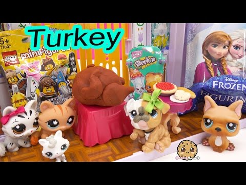 LPS Mommies + Playdoh Thanksgiving Turkey Surprise Toys + Shopkins, Frozen Blind Bags Video