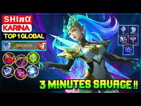 3 Minutes SAVAGE !! [ Top 1 Global Karina ] ѕнιnα - Mobile Legends