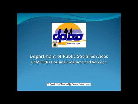 Webinar: Department Of Public Social Services CalWORKs Housing Programs And Services