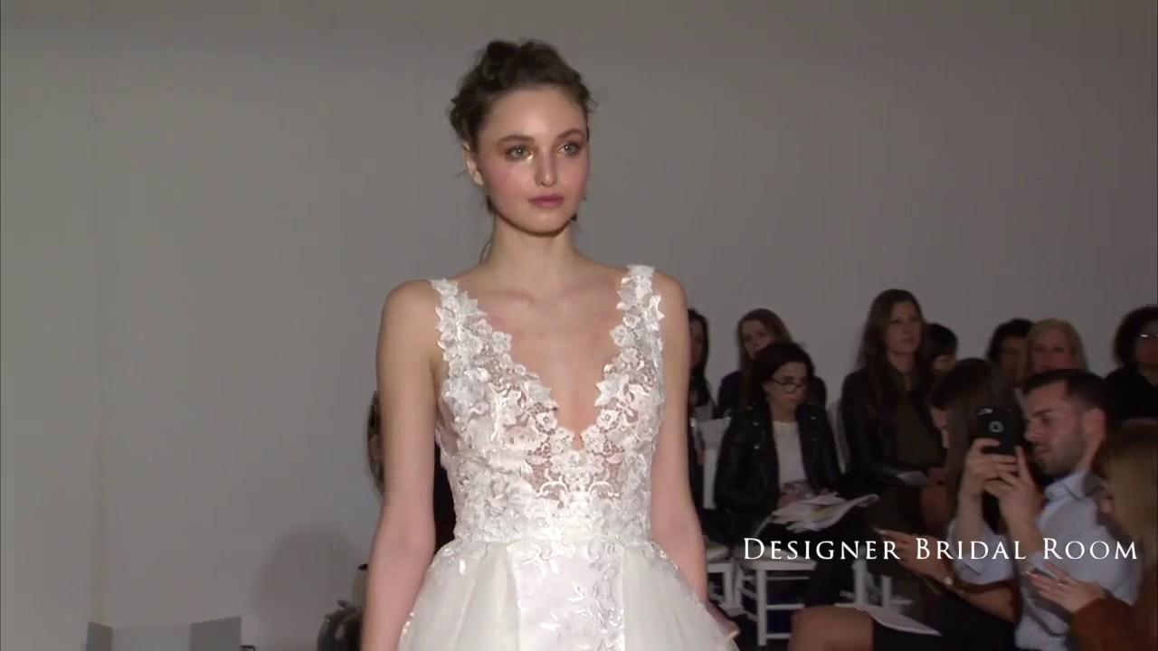 Lazaro Fall 2016 Bridal Collection V neck princess wedding dress