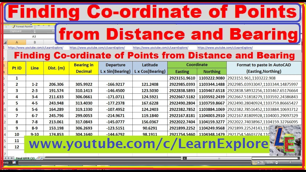 How to Calculate coordinates from distance and bearing where we have  coordinate of a known point