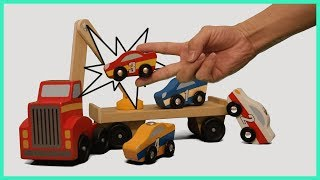 Learning Color with Wood Race Cars and Crane Truck