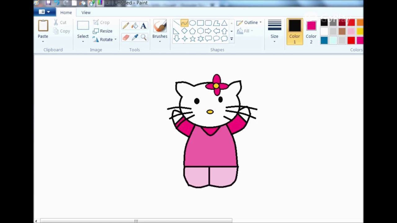 how to draw hello kitty in ms paint youtube