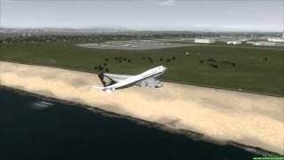 SINGAPORE AIRLINES 747-400 Near Crash Landing Los Angeles [PMDG 747 FSX]