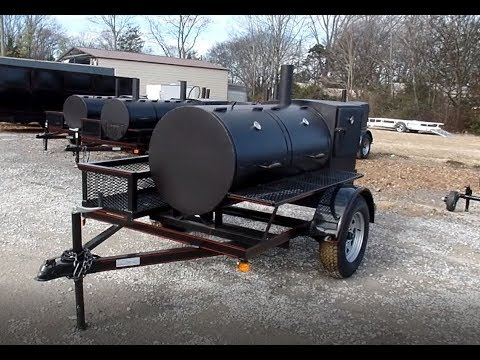 "Smoker Trailer Wood 59"" x 29"" Charcoal Pit Wood Cage BBQ Cooker Tutorial"