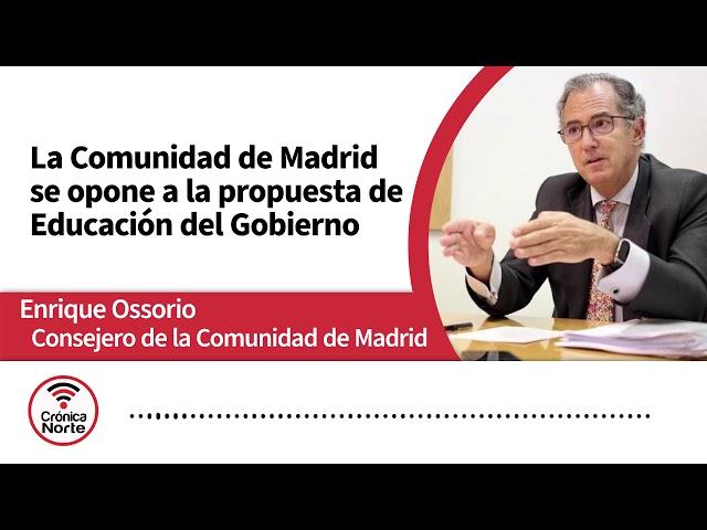 Enrique Ossorio Consejero de Educación de Madrid