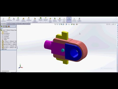Solidworks steam engine connecting rod end assembly design tutorial