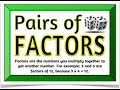 Math Game - Finding Pairs of Factors