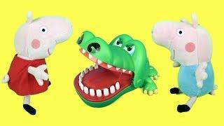 Peppa pig en español:juego del cocodrilo sacamuelas en casa con george.Nuevo video de juguetes 2018