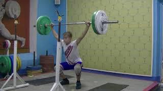Маклаков Тимур, 14 лет, собст вес 54 Рывок с виса+Ух в сед+Пр 50 кг