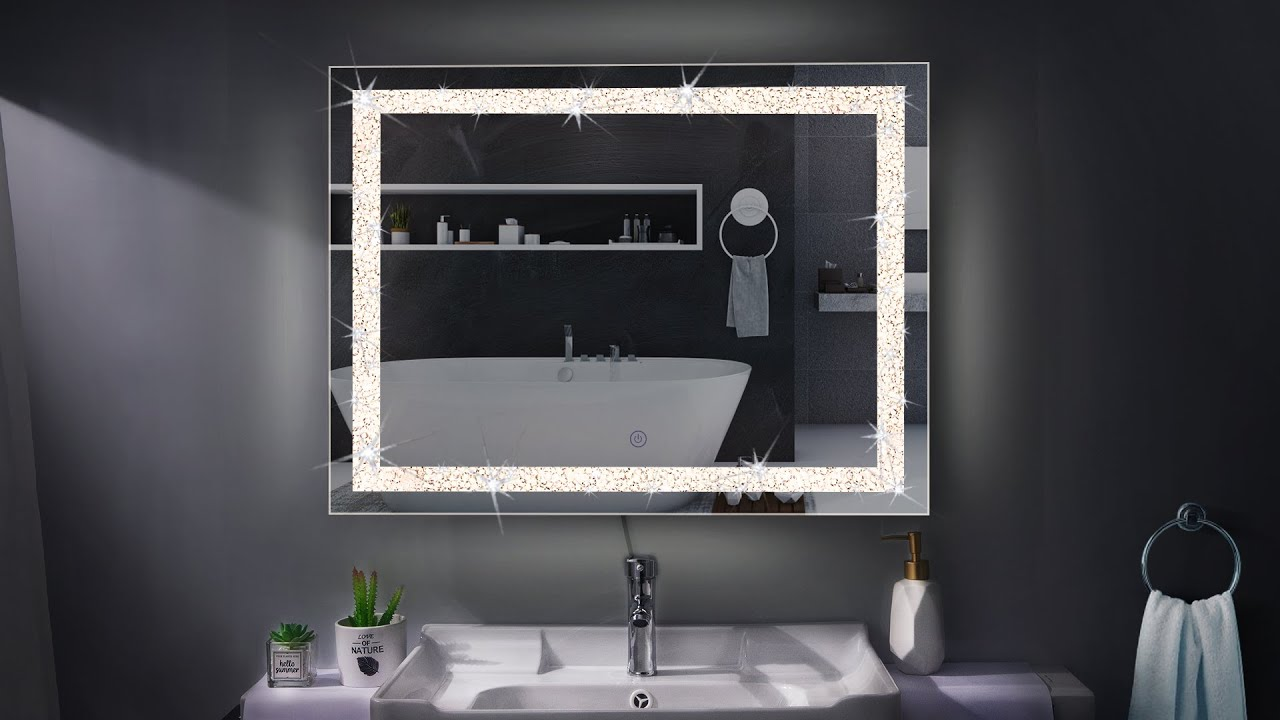 Chende Crystal Bathroom Mirror 32 X 24 Lighted Vanity Makeup Mirror With Dimmable Light Youtube