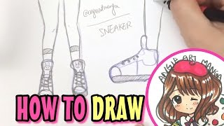 How to draw manga shoes, sneakers for beginners, in easy, simple | 如何畫鞋