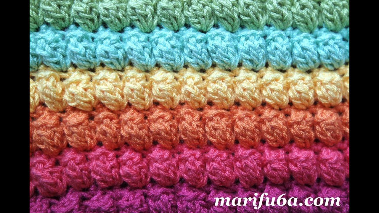crochet rainbow popcorn blanket stitch