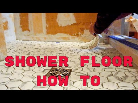 Easy quick, way  to install  mosaic tile on a shower floor.